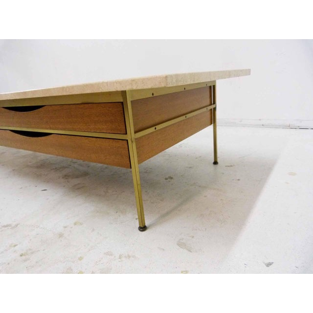 Paul McCobb For Calvin Mahogany, Brass & Travertine Coffee Table - Image 9 of 11