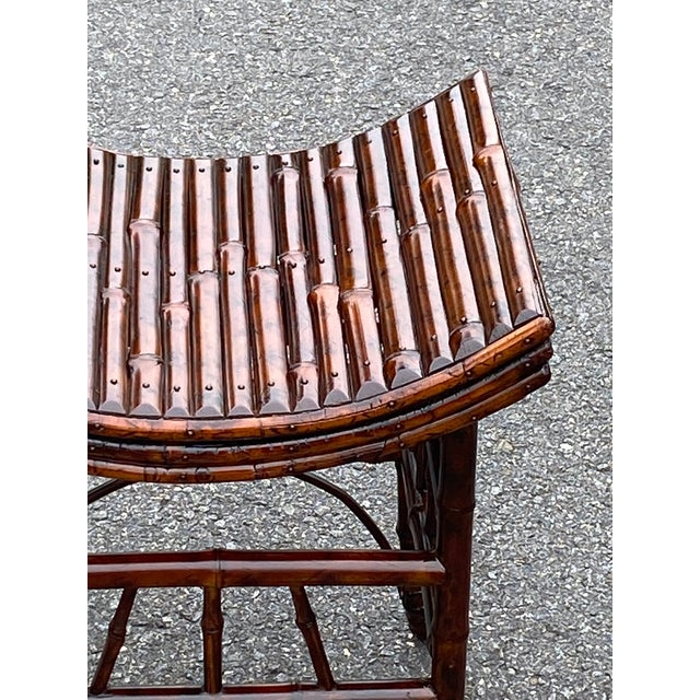 English Bamboo Bench or Stool With Faux Tortoise Finish For Sale - Image 4 of 9