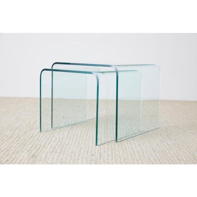 Contemporary Pair of Angelo Cortesi Glass Waterfall Nesting Drink Tables For Sale - Image 3 of 13