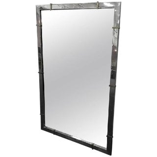 Chrome Wall Mirror With Brass Accents For Sale