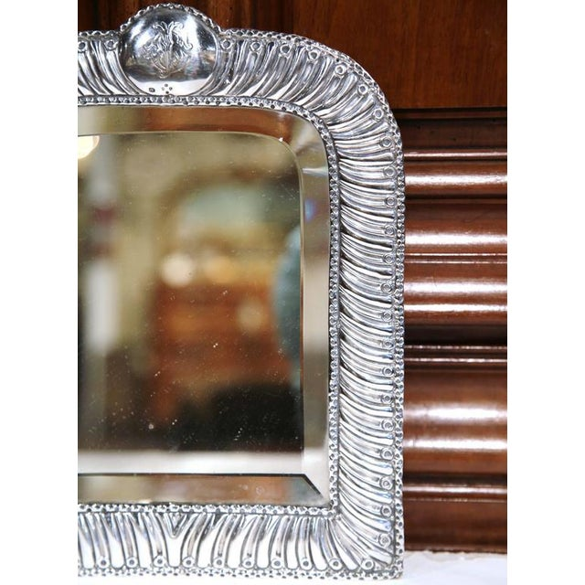 Wood 19th Century French Repousse Silver Table Frame With Beveled Glass For Sale - Image 7 of 10