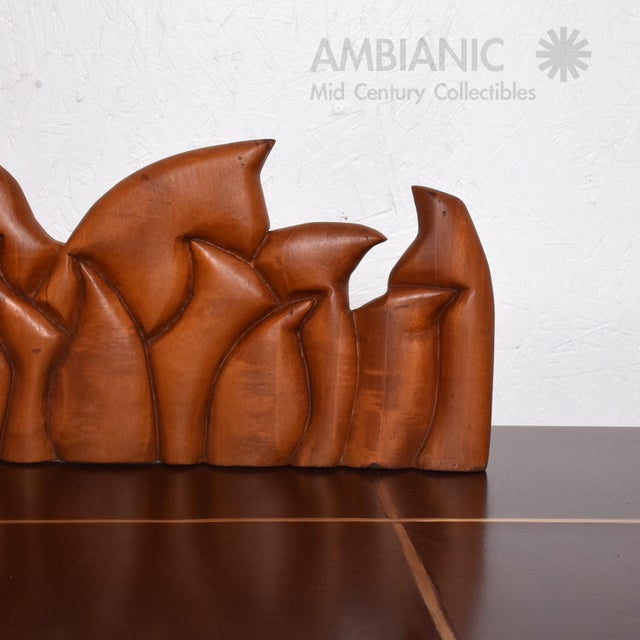 1990s Abstract Wood Sculpture the Last Supper Signed Victor Rozo For Sale - Image 5 of 9