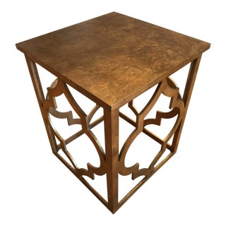 Hollywood Regency Gold Gilt Quatrefoil Accent Table For Sale