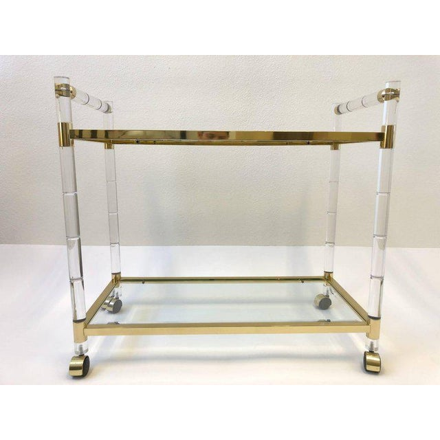 Italian Brass and Lucite Bar Cart For Sale In Palm Springs - Image 6 of 9