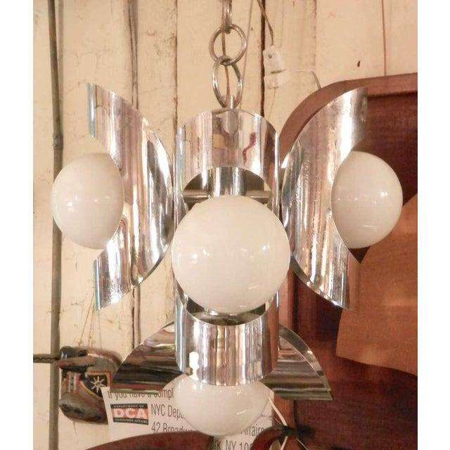 Vintage Mid-Century Modern Polished Chrome Chandelier For Sale - Image 5 of 5