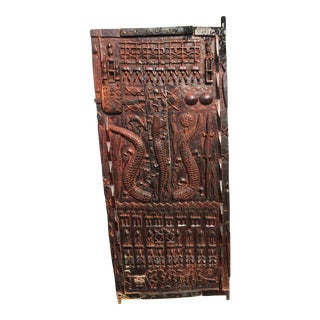 Late 20th Century Vintage African Carved Granary Door For Sale