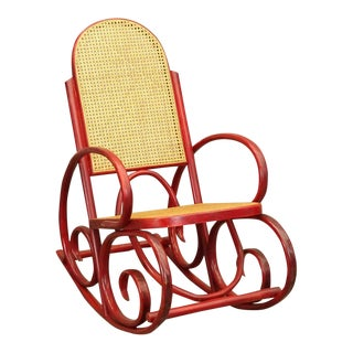 1960s Red Stained Wood and Cane Bentwood Thonet-Style Rocking Chair For Sale