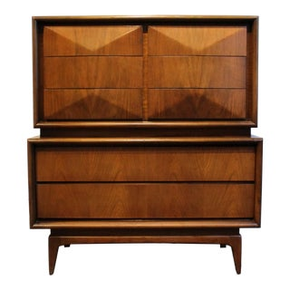 Mid-Century Modern Diamond-Front Walnut Wood Highboy Chest by United Furniture