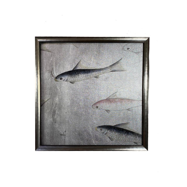 Framed Koi Fish Hand Painted on Antiqued Silver Leaf Chinoiserie Wallpaper, Set of 6 For Sale - Image 4 of 9
