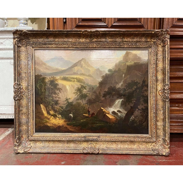 19th Century French Oil on Canvas Pastoral Painting in Carved Gilt Frame Signed For Sale - Image 13 of 13