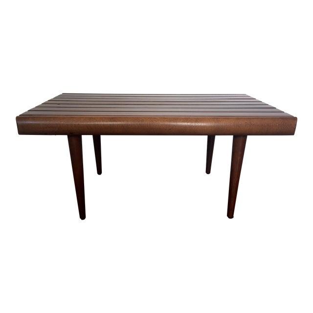 Mid century modern walnut slat bench chairish for Table 430 52