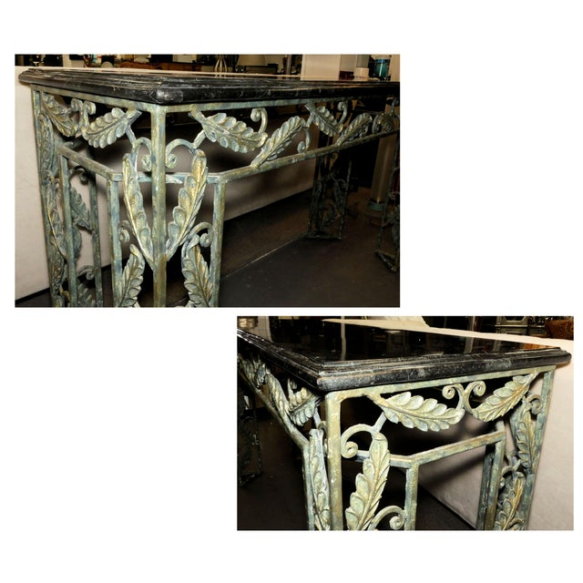 Traditional Maitland Smith Marble Top Iron Console Table For Sale - Image 10 of 13