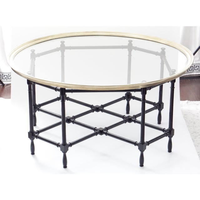 Gold Baker Brass & Glass Faux Bamboo Coffee Table For Sale - Image 8 of 8