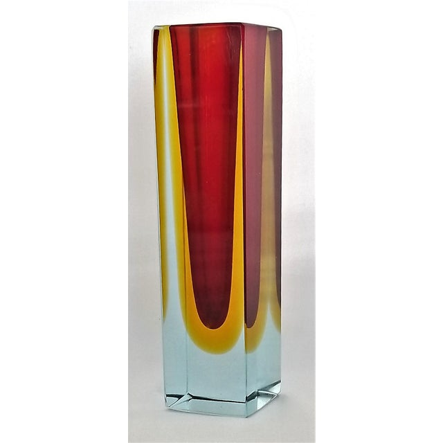 1970s 1970s Murano Blue Red and Yellow Glass Vase by Mandruzzato For Sale - Image 5 of 12