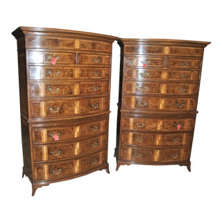 Early 19th Century English Walnut Bow Front Chests - a Pair For Sale