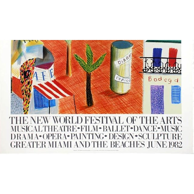 Original Exhibition Poster David Hockney June, 1982 The New World Festival of the Arts of Greater Miami and the Beaches...