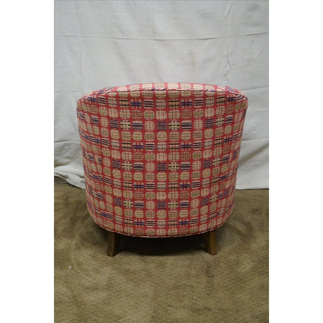 Newerly Upholstered Barrel Back Lounge Chair For Sale - Image 4 of 10