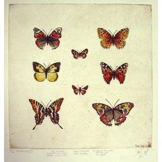 Sandy Scott Etching - Butterflies II For Sale