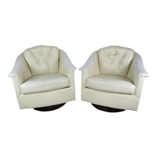 1970s Mid-Century Modern White Vinyl Swivel Chairs - a Pair