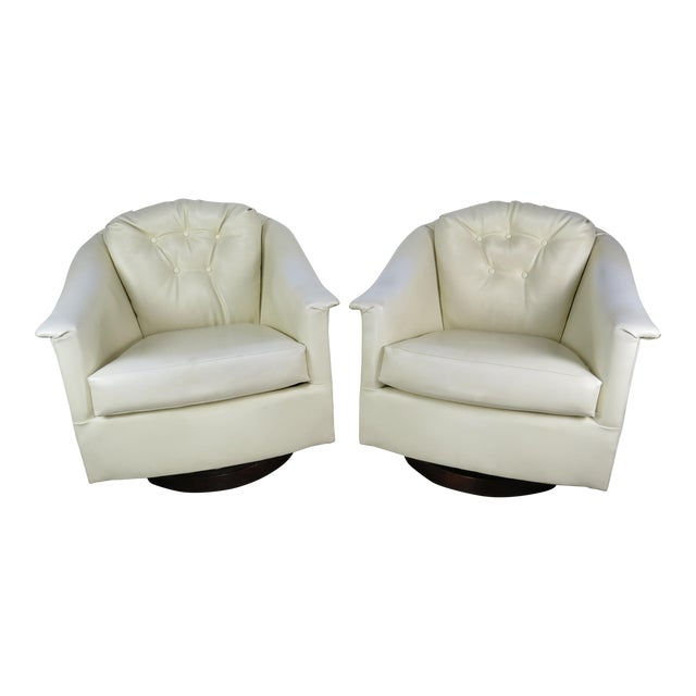 1970s Mid-Century Modern White Vinyl Swivel Chairs - a Pair For Sale