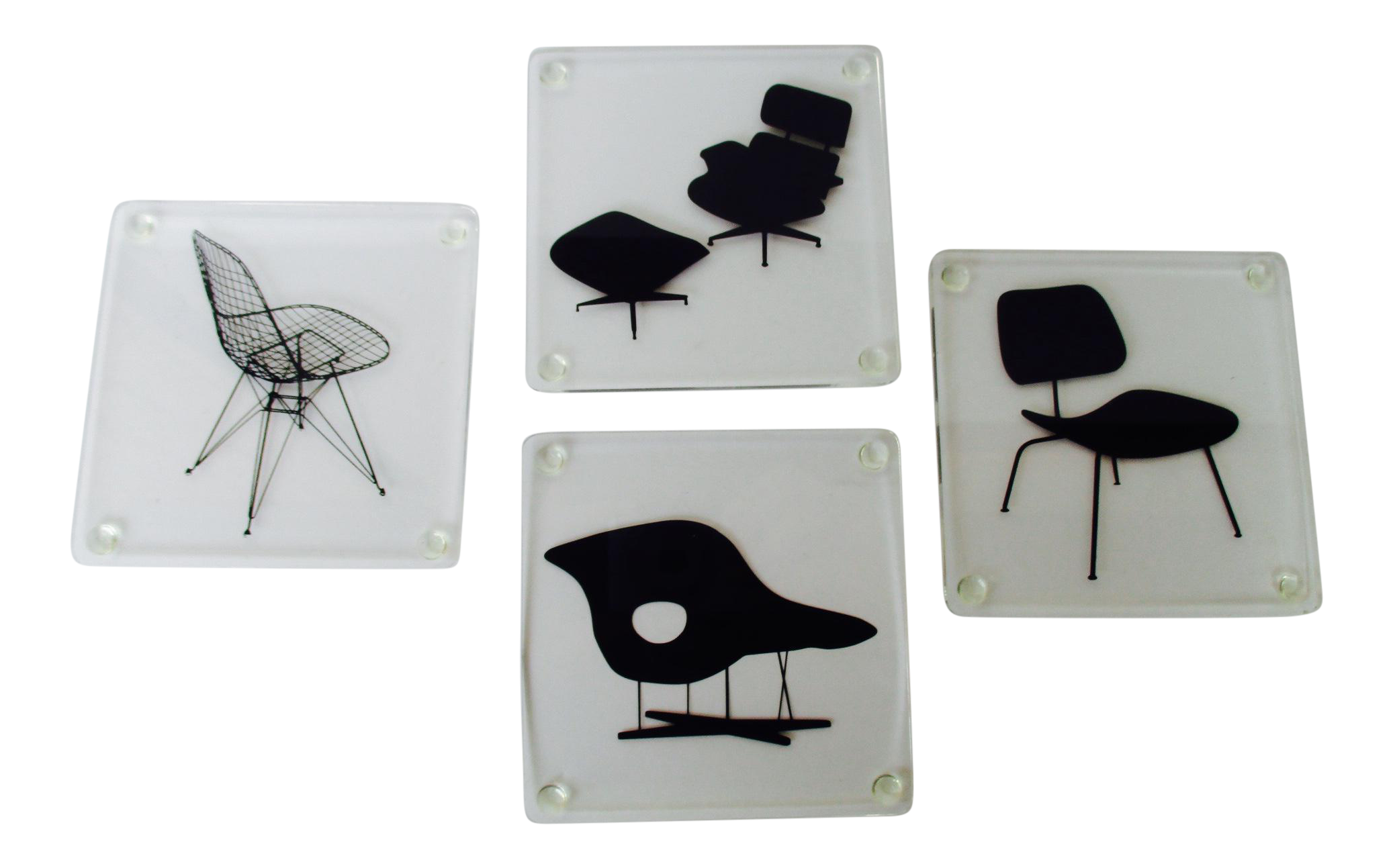 Museum Of Modern Art Eames Lucite Chairs Coasters   Set Of 4