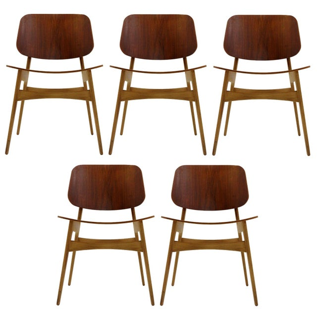 Set of 5 Børge Mogensen Dining Chairs, 1950s For Sale - Image 13 of 13