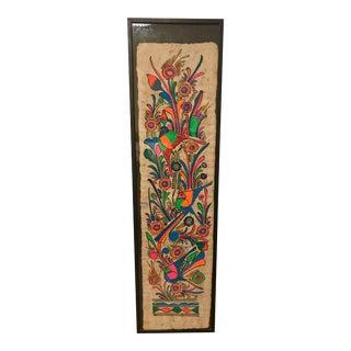 """Framed Mexican Folk Art, Gouache on Bark, 11"""" X 40"""" For Sale"""