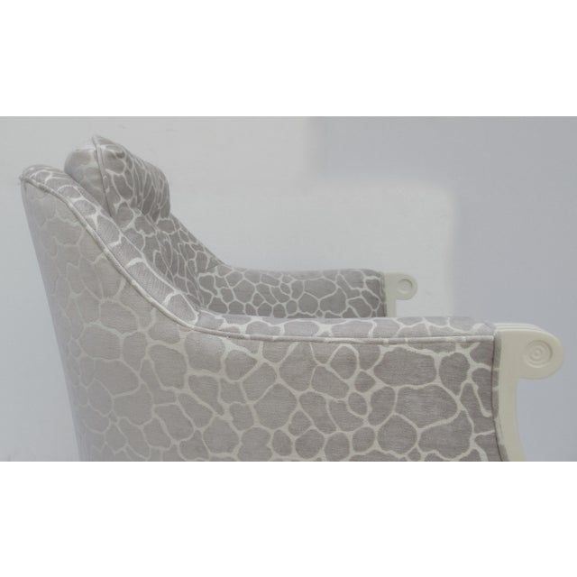 Wood Final Markdown -Dorothy Draper Hollywood Regency Club Chair With Giraffe Chenille For Sale - Image 7 of 13