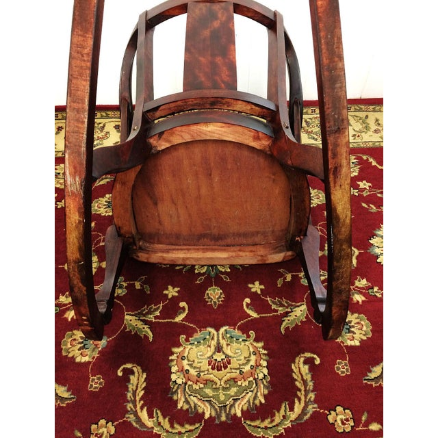 Antique Empire Barrel Back Claw Foot Mahogany Rocking Chair - Image 7 of 8