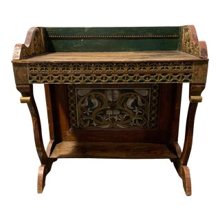 20th Century Javanese Teakwood Hand-Carved Writing Desk For Sale