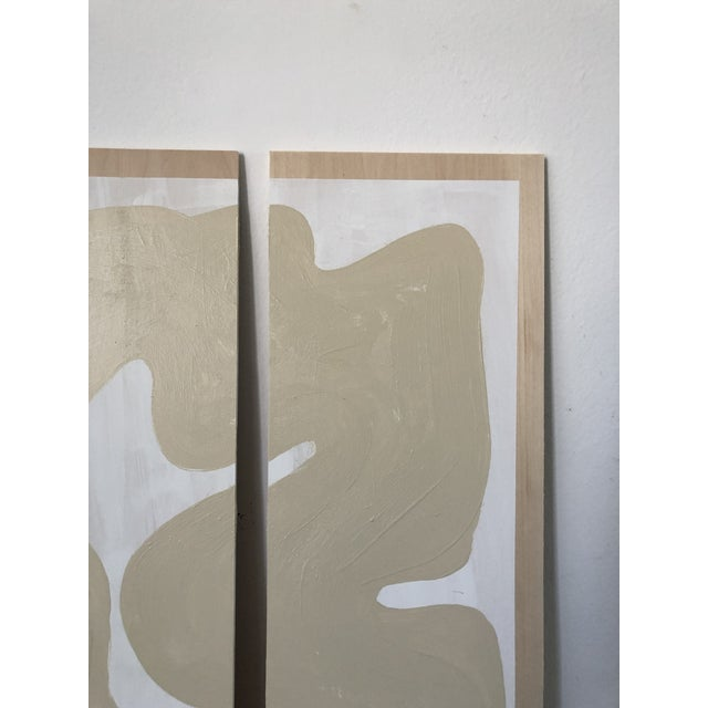 Hannah Polskin original 2019 beige and white abstract acrylic painting on plywood. Serpentine motif with monochrome color...