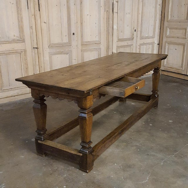 Rustic 19th Century Hand-Crafted Oak Drapery Table With Scalloped Apron, Circa 1850s For Sale - Image 3 of 10