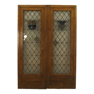 Large Pair of 19th C. American Leaded Glass Golden Oak Doors For Sale