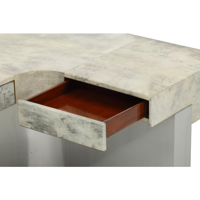 Sylvan S.F. Brioni Desk (Gray Parchment & Stainless Steel) by Sylvan s.f. For Sale - Image 4 of 6