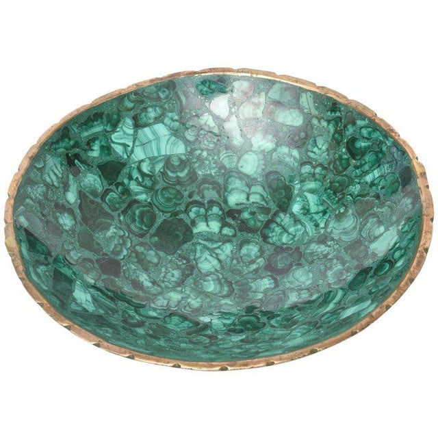 Mid-century Russian Malachite Bowl With Bronze Rim - Image 9 of 9