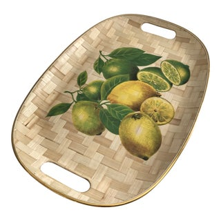 1980s Mid-Century Modern Bamboo Lemon and Lime Serving Tray For Sale