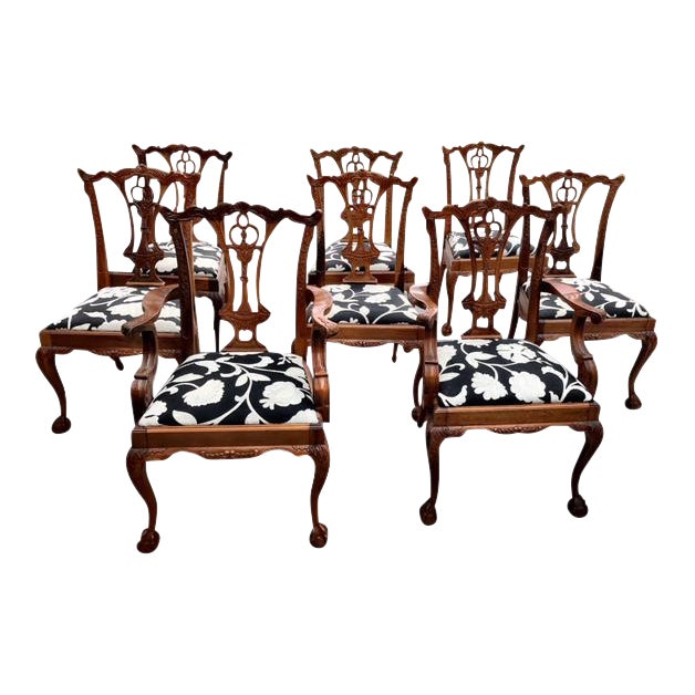 Chippendale Claw Foot and Ball Dining Chairs - Set of 8 For Sale