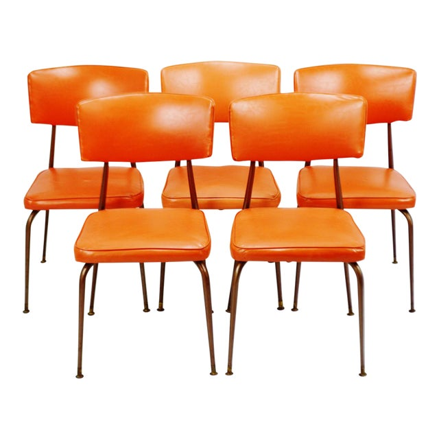 Mid-Century Modern Orange Dining Chairs - Set of 5 - Image 1 of 11