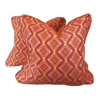 Woven Geometric Pillows - a Pair For Sale