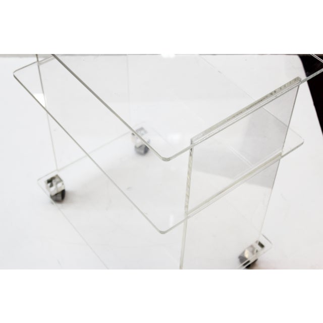 Mid 20th Century Modern Acrylic Bar Cart or Side Table on Casters For Sale - Image 5 of 9