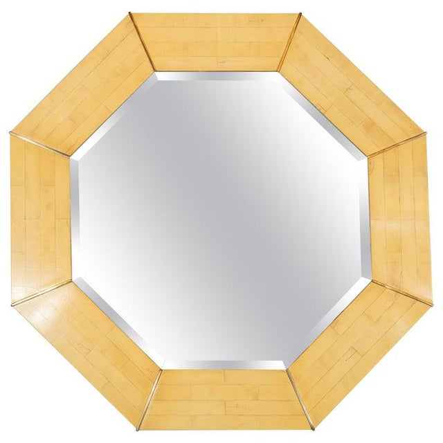 Karl Springer Mid-Century Modern Marbleized Lacquer and Brass Octagonal Mirror For Sale In New York - Image 6 of 6