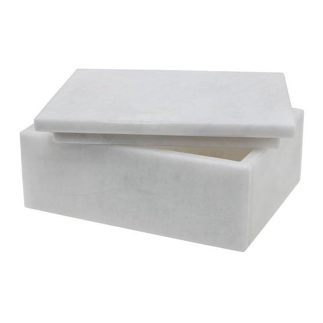 "A Asteria Collection Pearl White Marble 5"" Rectangular Keepsake Box."