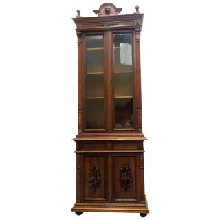 Extraordinary Ebonized Antique French Louis Philippe Book Cabinet For Sale