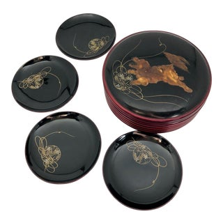 Vintage Japanese Painted Dog Lacquer Coasters in Box - Set of 5 For Sale