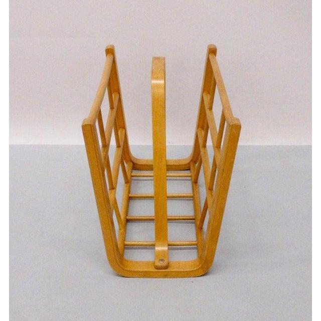 Danish Modern Alvar Aalto Attributed Bent Wood Magazine Stand Rack For Sale - Image 3 of 6