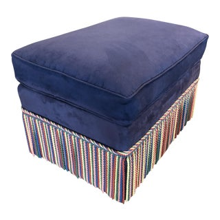 1980s Vintage Navy Blue Ultra Suede Ottoman For Sale