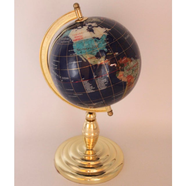 Mid 20th Century Vintage Blue Lapis World Globe on Brass Stand With Semiprecious Gems For Sale - Image 5 of 10