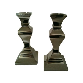 Mid-Century Silver Candlesticks - A Pair For Sale