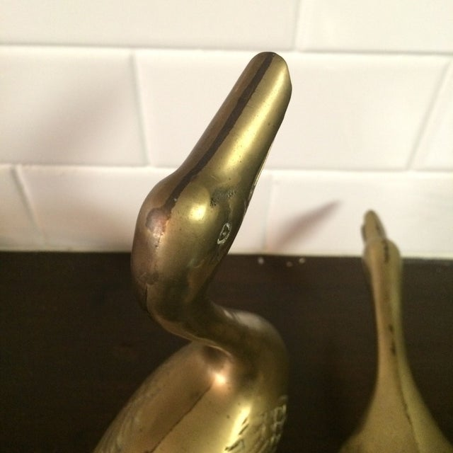 Large Brass Ducks - A Pair - Image 3 of 4