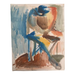 Mid Century Modern Seated Figure Painting by Robert Colborne For Sale